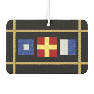 Watercolor Nautical Maritime Signal Flag Monogram Car Air Freshener