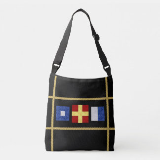 Watercolor Nautical Maritime Signal Flag Monogram Crossbody Bag