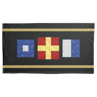 Watercolor Nautical Maritime Signal Flag Monogram Pillowcase
