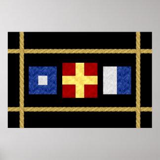 Watercolor Nautical Maritime Signal Flag Monogram Poster