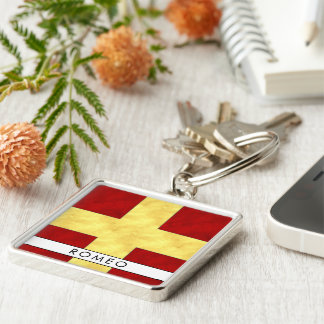 Watercolor Nautical Signal Maritime Flag Key Ring