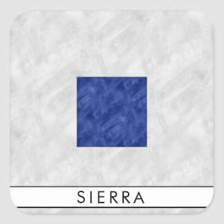 Watercolor Nautical Signal Maritime Flag Square Sticker