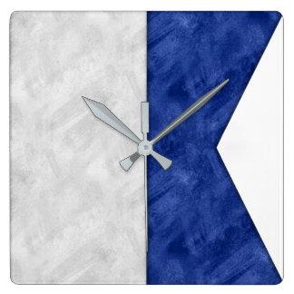Watercolor Nautical Signal Maritime Flag Square Wall Clock