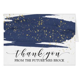 Watercolor Navy and Gold Future Mrs Thank You Card