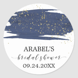 Watercolor Navy and Gold Sparkle Bridal Shower Classic Round Sticker