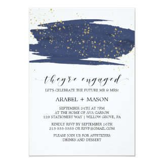 Watercolor Navy and Gold Sparkle Engagement Party Card