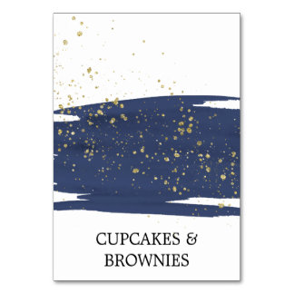 Watercolor Navy and Gold Sparkle Food Tent Cards