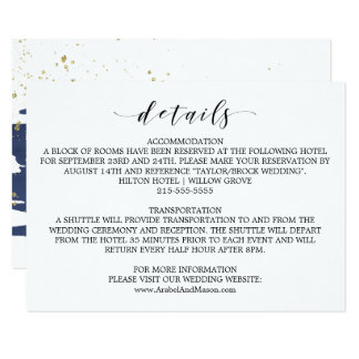 Watercolor Navy and Gold Wedding Details Card