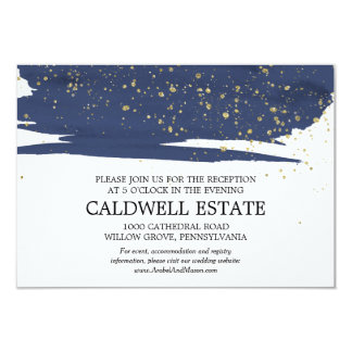 Watercolor Navy and Gold Wedding Reception Insert Card