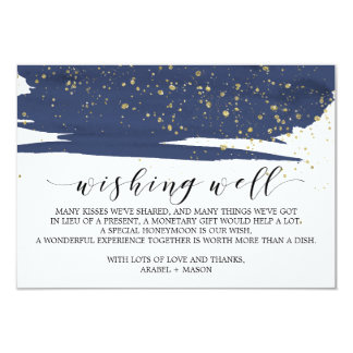 Watercolor Navy and Gold Wedding Wishing Well Card