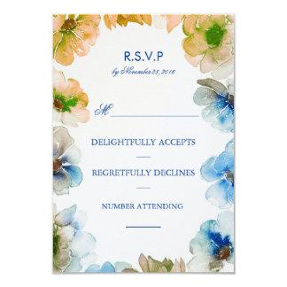 Watercolor Navy Floral Wreath Fall Wedding Rsvp 9 Cm X 13 Cm Invitation Card