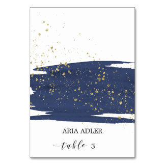 Watercolor Navy & Gold Wedding Escort Place Cards