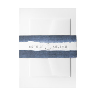 Watercolor navy stripes nautical beach wedding invitation belly band
