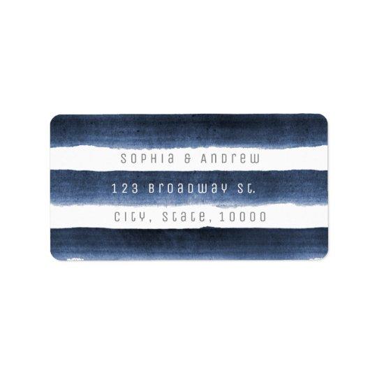 Watercolor navy stripes nautical beach wedding label