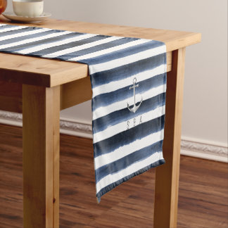 Watercolor navy stripes with anchor beach wedding short table runner
