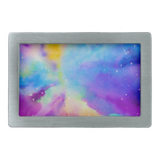 Watercolor Nebula Rectangular Belt Buckles
