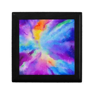 Watercolor Nebula Small Square Gift Box