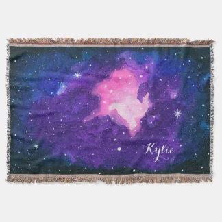 Watercolor Nebula Stars Galaxy Universe Space Name Throw Blanket