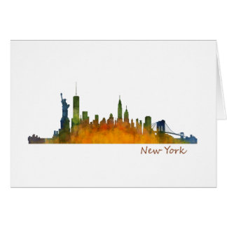 Watercolor New York Skyline Card