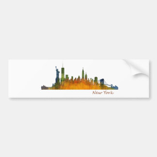 Watercolor New York Skyline City NYC label