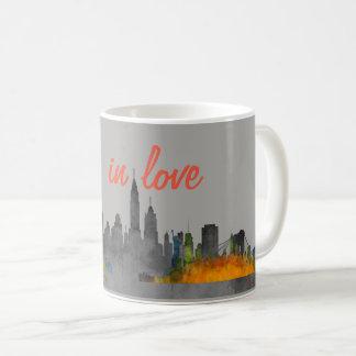 Watercolor New York Skyline in love Coffee Mug