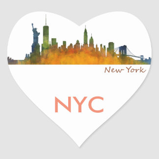 Watercolor New York Skyline ina wonderful Heart Heart Sticker
