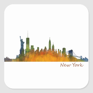 Watercolor New York Skyline Square Sticker
