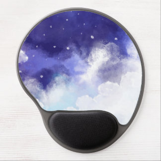 Watercolor Night Sky Abstract Fine Art Gel Mouse Pad