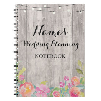 Watercolor Notebook Flowers Wedding Planning Notes
