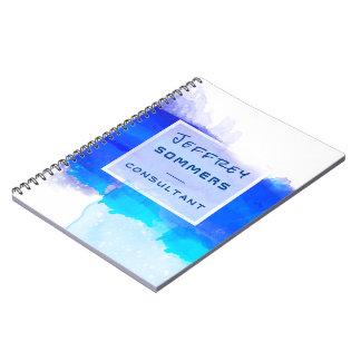 Watercolor Ocean Aquamarine Blue Professional Spiral Notebook