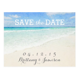 Watercolor Ocean | Beach Save the Date Postcard