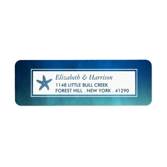 Watercolor Ocean Starfish Beach Wedding Return Address Label