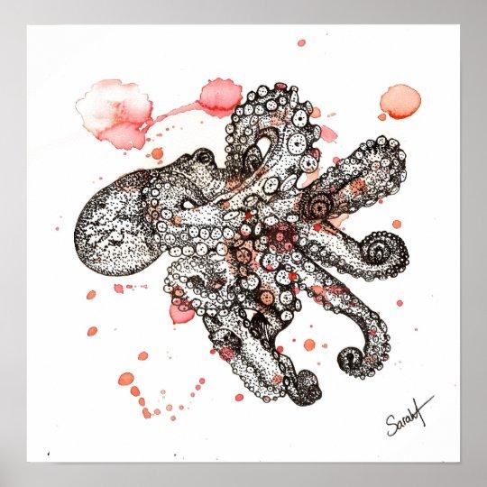 Watercolor Octopus Poster