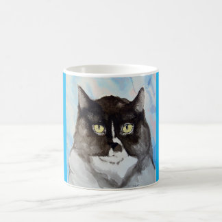 Watercolor of a black and white cat classic white coffee mug
