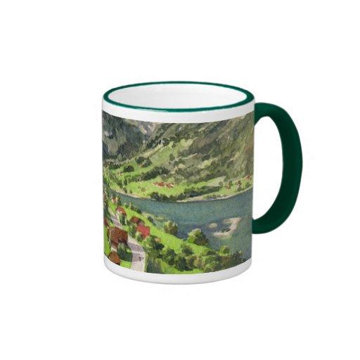 Watercolor of a Switzerland Landscape Coffee Mug