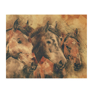 Watercolor of Horse Trio Wood Wall Art