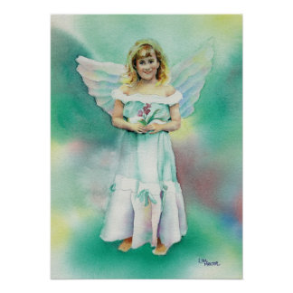 Watercolor of Little Angel Girl Poster