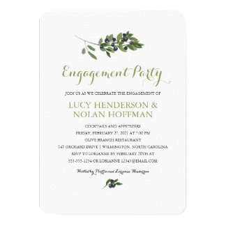 Watercolor Olive Orchard | Engagement Party 4.5x6.25 Paper Invitation Card