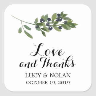 Watercolor Olive Orchard | Favor Thank You Square Sticker