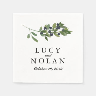 Watercolor Olive Orchard | Wedding Reception Disposable Napkin