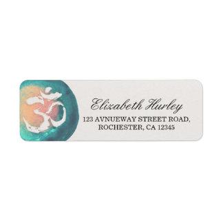 Watercolor Om Symbol Yoga Mediation Instructor Return Address Label