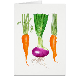 Watercolor Onion and Carrots Card
