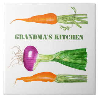 Watercolor Onion and Carrots Ceramic Tile