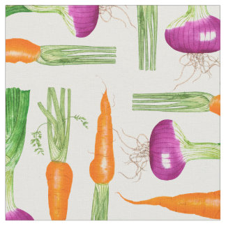 Watercolor Onion and Carrots Fabric