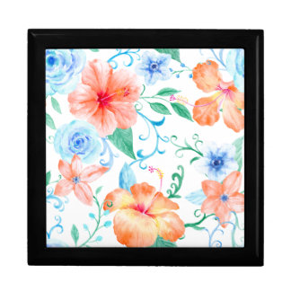 Watercolor Orange and Blue Flower Pattern Gift Box