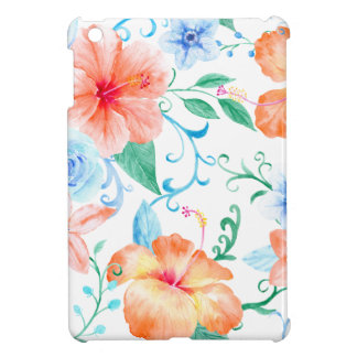Watercolor Orange and Blue Flower Pattern iPad Mini Cover