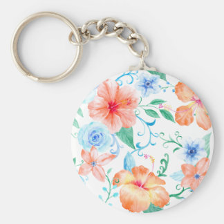 Watercolor Orange and Blue Flower Pattern Key Ring