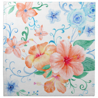 Watercolor Orange and Blue Flower Pattern Napkin
