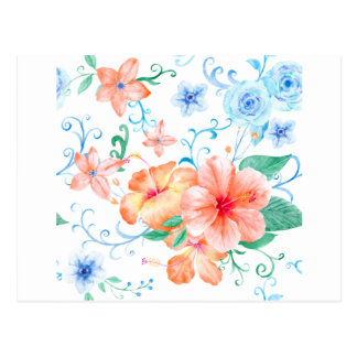 Watercolor Orange and Blue Flower Pattern Postcard