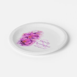 Watercolor orchid flower pink art paper plates 7 inch paper plate